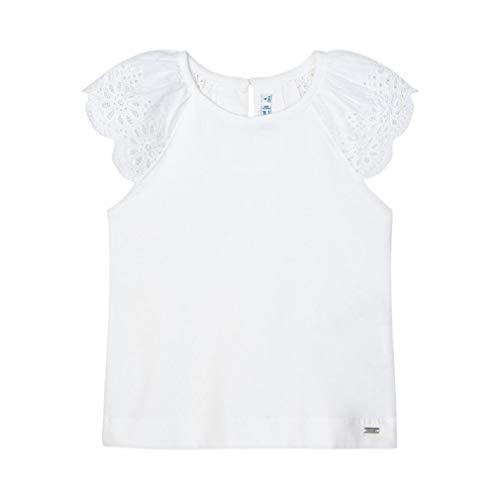 Mayoral Camiseta infantil de manga corta con encaje. Blanco 9 años