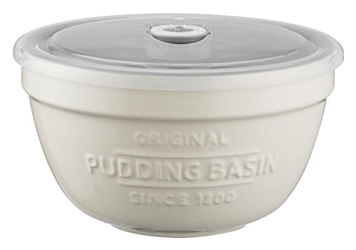 Mason Cash Innovative Kitchen Stoneware Pudding Basin with Airtight Lid and Use-By Date Tracker, 0.9 Litre, White / Grey