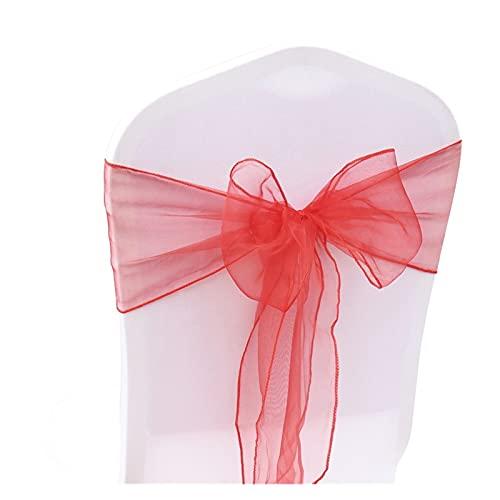 LAIQIAN 100 Stucke, Stuhlabdeckung Sash Bögen, Organza Stuhl Sash Bow Für Cover Bankett Hochzeit Party Event Chrismas Dekoration Sheer Organza Stoffversorgung 18 Cmx275cm (Color : Red)