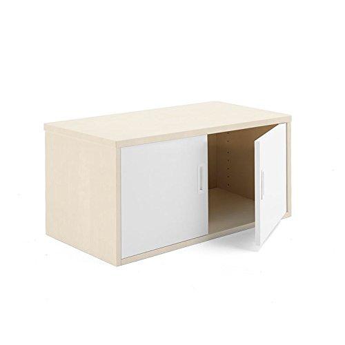 AJ Producter AB 1613069 Modulus kantoorkast met witte deuren, 400 mm x 800 mm x 400 mm, berk