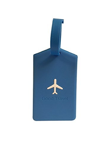 NOVAGO Etiquette Bagages série Avion étiquette Valise, étiquette pour Sac à Voyage,Sac à Dos (Bleu, x1 carré)