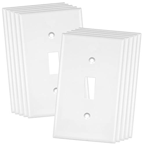 ENERLITES Toggle Light Switch Wall Plate Cover, Size 1-Gang 4.50' x 2.76', Unbreakable Polycarbonate Thermoplastic, 8811-W-10PCS, White (10 Pack)