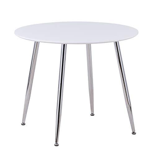 GOLDFAN Esstisch Klein Rund Tisch Weiß Hochglanz Küchentisch Wohnzimmertisch mit Verchromte Beine 80cm