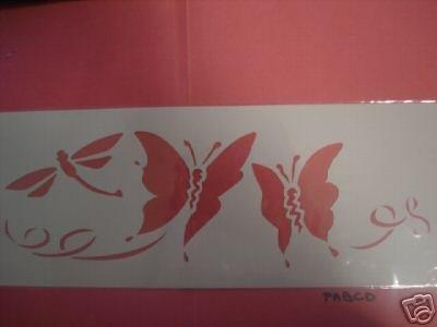 GRAINE CREATIVE 226036 Pochoir Décor 15 x 40 Papillons, Plastique, Gris, 15,5 x 0,1 x 47,5 cm