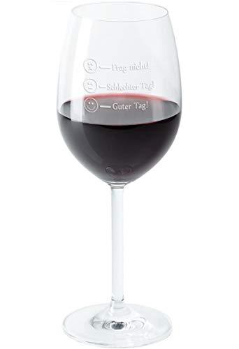 Geschenke 24 Leonardo Rotweinglas - Frag Nicht - Guter Tag Lustiges Wein Glas mit Befüllungs-Markierungen graviert - Markenglas mit Smiley Gravur je nach Stimmung