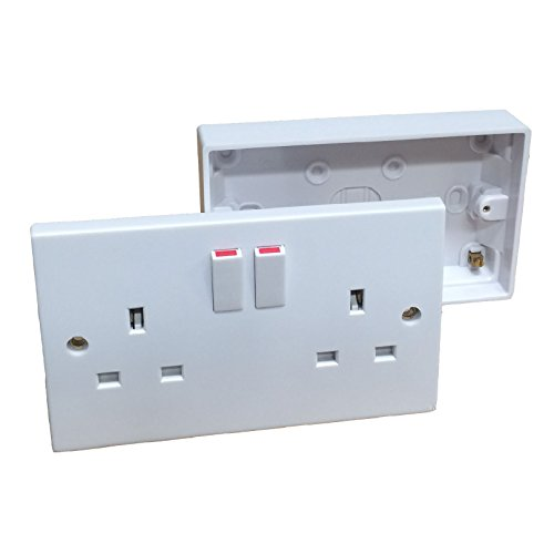 Double Wall Socket & Back Box Pattress. Twin 2 Gang Switched Plug Electrical by RED/GREY