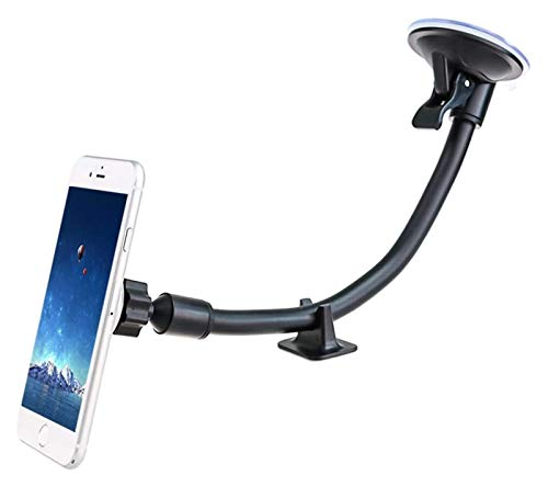 Soporte para teléfono del automóvil, soporte de teléfono de parabrisas magnético con brazo largo de aluminio y base de tablero de instrumentos, soporte de parabrisas universal para iPhone XS XR X 8 7