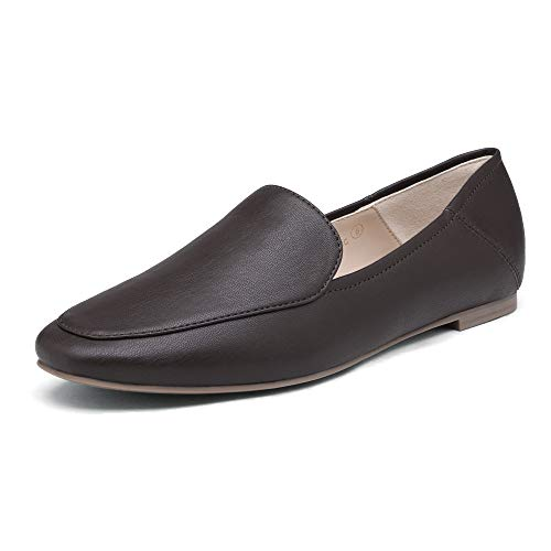 DREAM PAIRS Women's DLS211 Loafers Slip On Flats Comfort Work Office Shoes Brown Size 7 M US