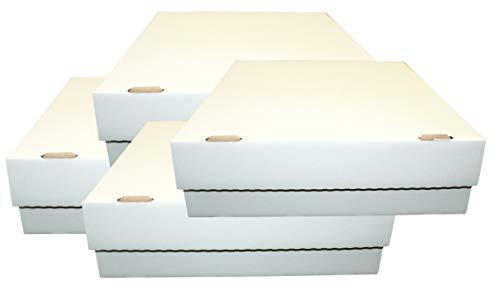 CAGO 4 Riesen Deck-Boxen - Aufbewahrung (weiß) für je 4000 Karten (Magic / Pokemon / YuGiOh Karten) + Collect-it Hüllen