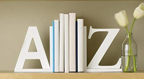 WOODCRAFT A to Z Designer Bookends, Book Organiser/Stopper/Book Rack Shelf Table top White for Office and Home Décor (A to Z)