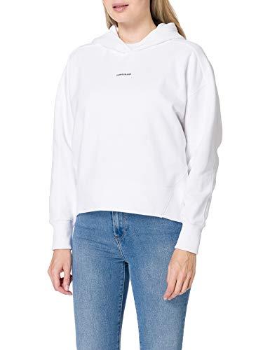 Calvin Klein Jeans Micro Branding Hoodie Suéter, Blanco Brillante, L para Mujer