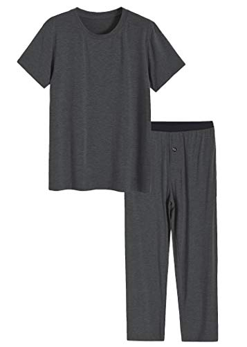 Latuza Men's Bamboo Viscose Pajamas Set Shirt and Pants with Pockets L DarkGray