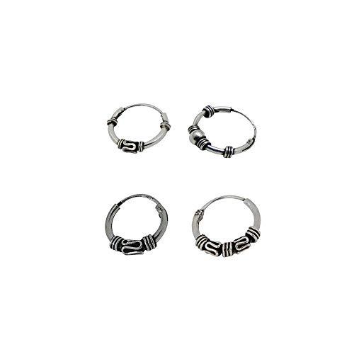 4 pendientes aros distintos diseño bali plata de ley individuales hélix de 12mm diámetro exterior