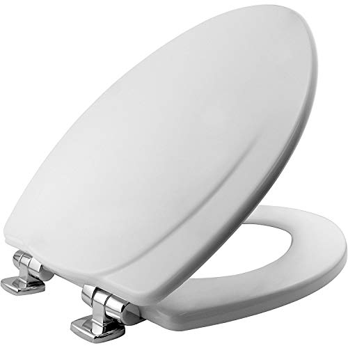 Toilet Seat, 1 Pack-ELONGATED, White-Chrome Hinges - 1