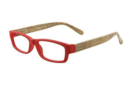 Edison & King Moderne Lesebrille mit Bügeln in Holzoptik und farblich passendem Etui - Verschiedene Stärken und Farben (rot, 3,00 dpt)