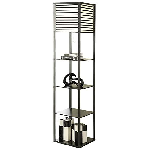 Lámpara de pie de estante de madera moderna, mesita auxiliar y mesita de noche para dormitorio, negro