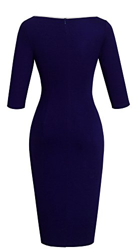 Homeyee Frauen elegante dunkelblaue Knopf Hülsen-dünne Abend-Partei-Geschäfts, figurbetontes Kleid B329 (EU 36 = Size S, Dunkelblau) - 3