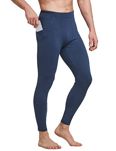 BALEAF Men's Yoga Leggings Running Tights with Pockets Athletic Compression Pants for Workout Cycling Hiking Dark Blue M