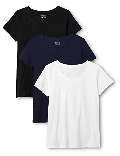 Berydale Damen T-Shirt Mit Rundhalsausschnitt, 3er Pack, Mehrfarbig (Schwarz/Weiß/Navy), Medium