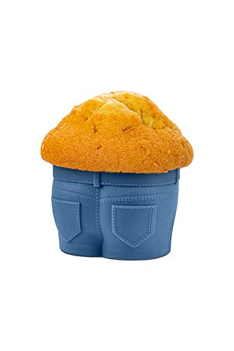 Reusable Nonstick Jumbo Silicone Baking Cups for Cupcakes and Muffins (6, Dark Blue)
