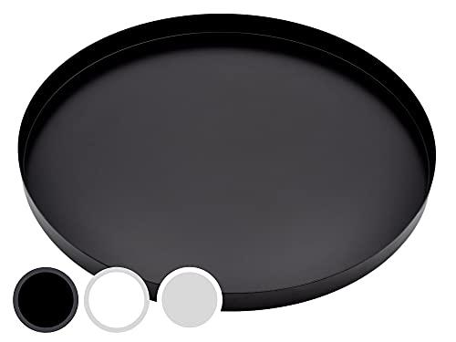 D&D Living Bandeja decorativa redonda, diámetro de 30 cm, plato decorativo de diseño para Pascua, primavera y más, de metal (color negro mate)