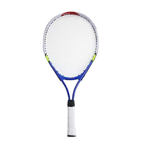 Raqueta de Tenis para Adultos de Fibra de Carbono Raqueta de Tenis Azul Adecuada para Raquetas de Tenis Deportivas Profesionales (23 Pulgadas)