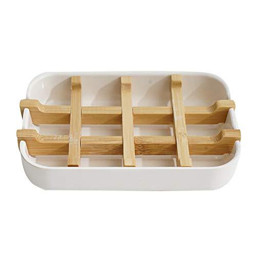Guillala Przenośna bambusowa mydelniczka, szczelna mydelniczka, uchwyt na mydło z włókna bambusowego do kuchni łazienki prysznica i blatu