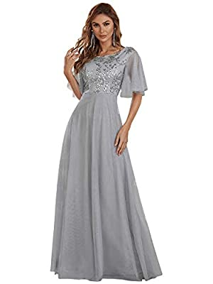 Ever-Pretty Women's Short Sleeve Sequin Tulle Long Dress Wedding Guest Dress Grey US8