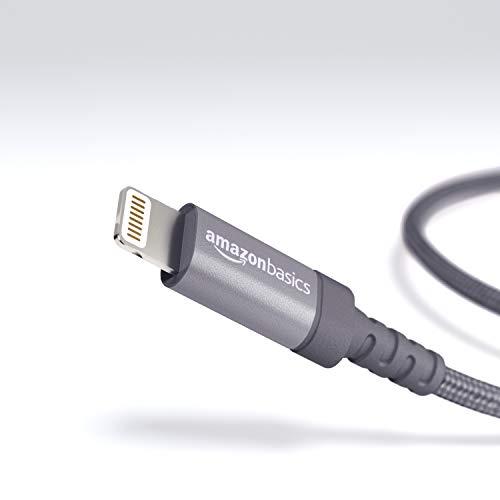 Amazon Basics Verbindungskabel Lightning-auf-USB-A, Nylon, geflochten, 0,9m, zertifiziert von Apple, Dunkelgrau