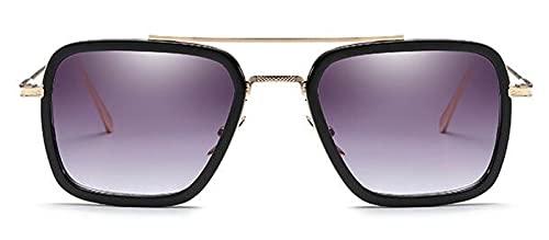 Gafas De Solgafas De Sol De Hierro para Hombre, Gafas De Sol Rectangulares, Vintage, Transparentes, De Moda, Gafas De Sol Góticas, Gradiente, Gris