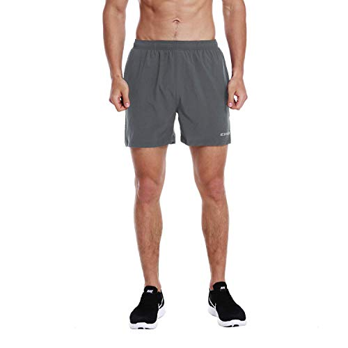 EZRUN Men's 5 Inches Running Workout Shorts Quick Dry Lightweight Athletic Shorts with Liner Zipper Pockets,Grey,M