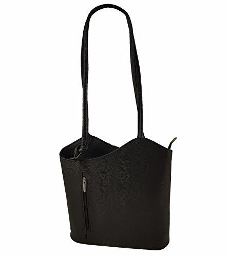 Freyday 2 in 1 Handtasche Rucksack Designer Luxus Henkeltasche aus Echtleder in versch. Designs HR03 (Glattleder Schwarz)