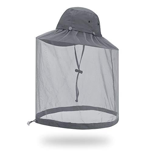 W-anqun Outdoor Mesh Cap Omnidirectional 360 Degree Sunscreen Anti-Mosquito Hat for Collecting Honey Jungle Climbing Rock Fishing Sun Hats