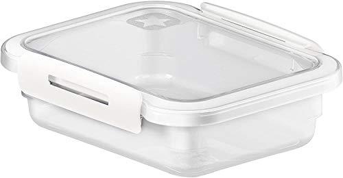 Rotho Memory rechteckige Frischhaltedose 0,4l mit Deckel, Kunststoff (PP) BPA-frei, transparent/weiss, 0,4l (15,0 x 12,0 x 4,7 cm)