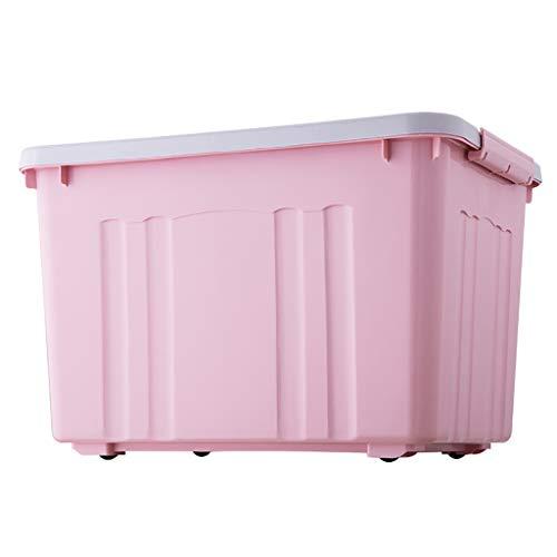 Opbergdoos 30L/50L/70L/100L/140L Latch Box Wieltje Plastic met Deksel Stack Quart Auto Kleding Snack Toy Rijstemmer Meel emmer 2-Pack 4 Kleuren