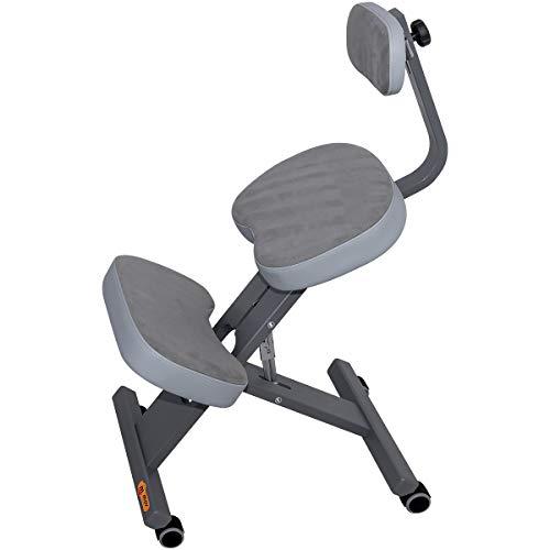 MOV Ergo-Comfort Plus Kniestuhl Kniehocker Sitzhocker Bürohocker Gesundheitsstuhl - höhenverstellbar, bequem gepolstert, rollbar. (Gray)