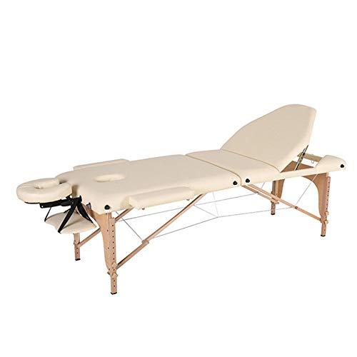 QuRong massagetafel draagbare 3 delen massagetafel gemakkelijk instelbare hoogte klapbed als beauty spa behandeling bank houten frame voor Facial SPA Tattoo