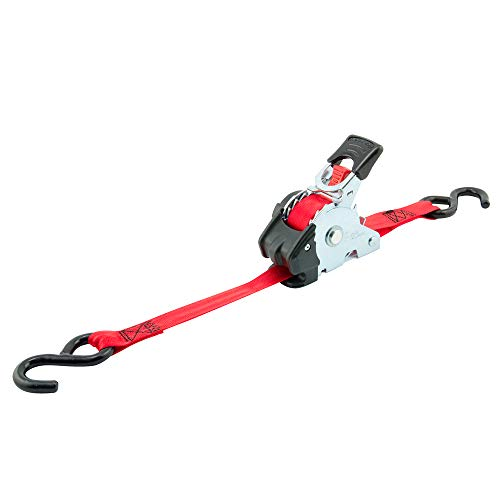"""Erickson 04418 Pro Series Red 1"""" x 10' Retractable Ratcheting Tie-Down Strap, (Storage Bag of 4, 1200 lb Load Capacity)"""