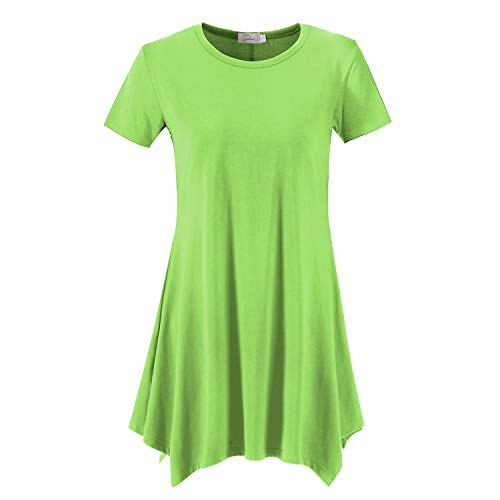 Topdress Women's Loose Fit Swing Shirt Casual Tunic Top for Leggings Sprout Green L