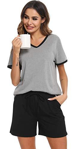 Vlazom Pijamas para Mujer Verano Algodón de Pijama Corto Mujer Suave y Transpirable, Ropa de Dormir de Camiseta con Pantalones Cortas S-XXL