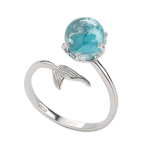 Lumanuby 1x Magisch Meerjungfrau Offen Ring Damen Delicate Blau Kristall Ball Ring Verstellbar für das tägliche Tragen und die Party Silber Farbe, Ringe Serie