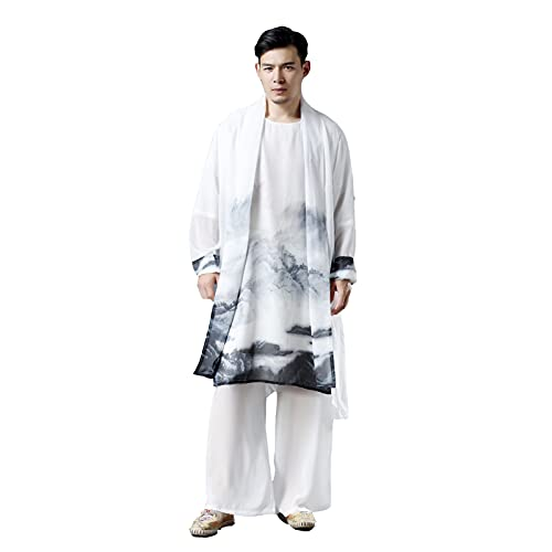 Kimono Japonés para Hombre Camisa de Gasa Frente Abierto Delgado y Ligero Cárdigan Lino d Algodón Casual Ropa China Traje Tang Camisa de Manga Larga (Color : White, Size : One-Size)