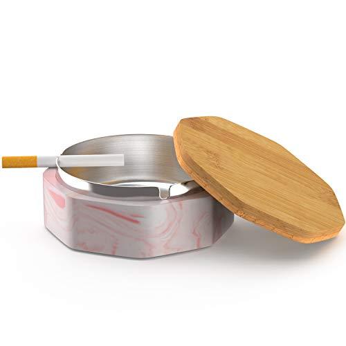 SEA or STAR Keramischer geometrischer Aschenbecher mit winddichtem Deckel für Haus- oder Außenaschenbecher für Zigaretten(Rosa)