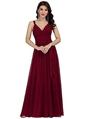 Ever-Pretty Women Feminine Vneck Sleeveless Bridesmaid Dresses 10US Burgundy