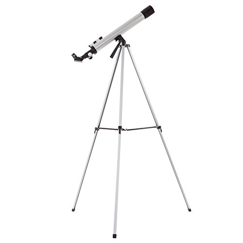 Hey! Play! 60mm Mirror Refractor Telescope – Aluminum Stargazing Optics with Tripod for Beginner Astronomy and STEM Education for Kids and Adults