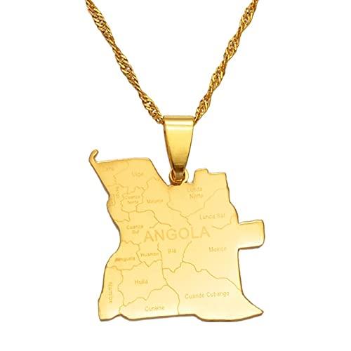 Kkoqmw con el Nombre de la Ciudad, Collares con Colgante de Mapa de Angola, Color Plateado/Dorado, joyería Africana, mapas de países angoleños