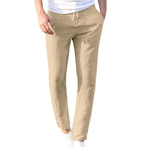 2021 Nuevo Pantalones Hombre Verano Casuales Moda Deportivos Lino Pants Color sólido Jogging Pantalon Fitness Suelto Pantalones Largos Pantalones Ropa de Hombre