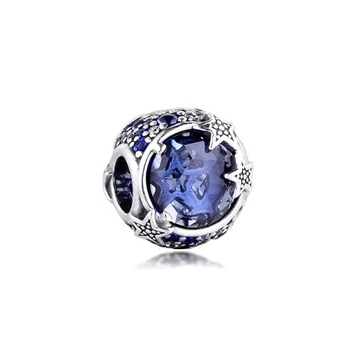 ZHANGCHEN Cuentas Azules celestiales de Estrellas Brillantes para Mujer, Cadena de Serpiente Original, Pulsera de Plata esterlina, joyería, Cuentas de Invierno