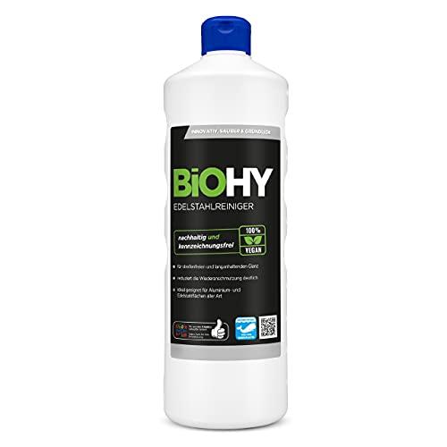 BiOHY Edelstahlreiniger (1l Flasche) | Edelstahlpflege für neuen, streifenfreien Glanz | Schutz gegen Fingerabdrücke, Schmierflecken etc. | schonend und nachhaltig