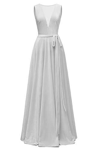 yinyyinhs Illusion V-Ausschnitt Samt Abendkleid Lang Eine Linie Ballkleider mit Gürtel Silber Größe 54